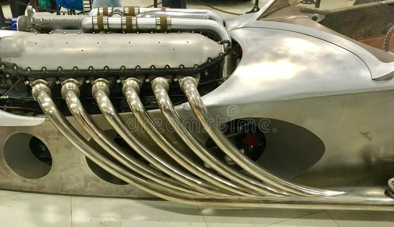 Exhaust Pipes Of A Sports Racing Car Maserati Tipo 63