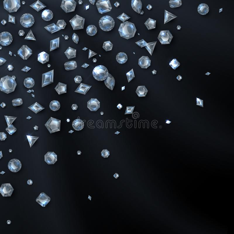 Shiny expensive diamond gems isolated on black backdrop. Jewelry and luxury vector background vector illustration