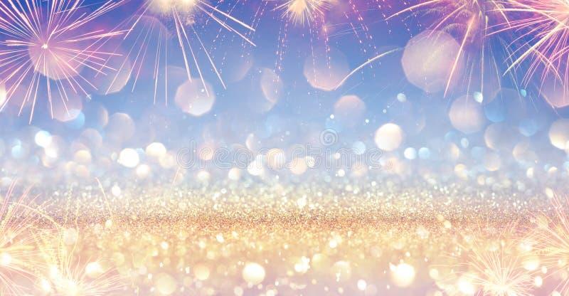 Shiny Festive Banner With Firework - Golden Glitter vector illustration