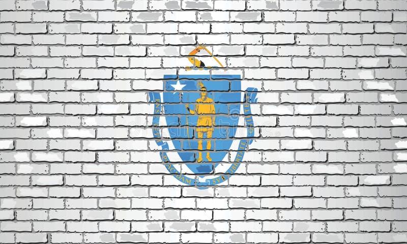 Shiny flag of Massachusetts on a brick wall vector illustration