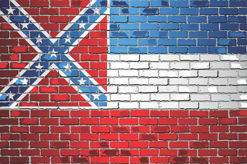 Shiny flag of Mississippi on a brick wall vector illustration