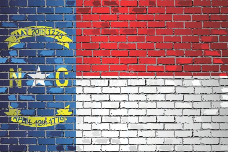 Shiny flag of North Carolina on a brick wall stock illustration