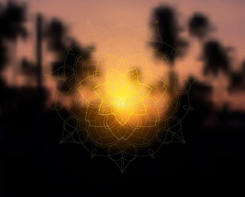 Shiny floral mandala on sunset tropic blurred background royalty free illustration