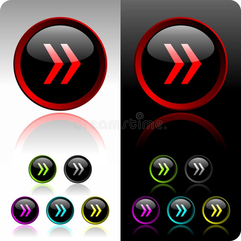 Shiny forward button set. With six color variation royalty free illustration