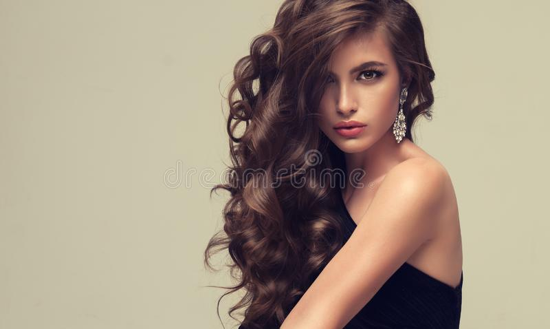 Shiny, freely laying curls of well groomed hair. Beauty portrait of young, perfektly looking woman. stock images