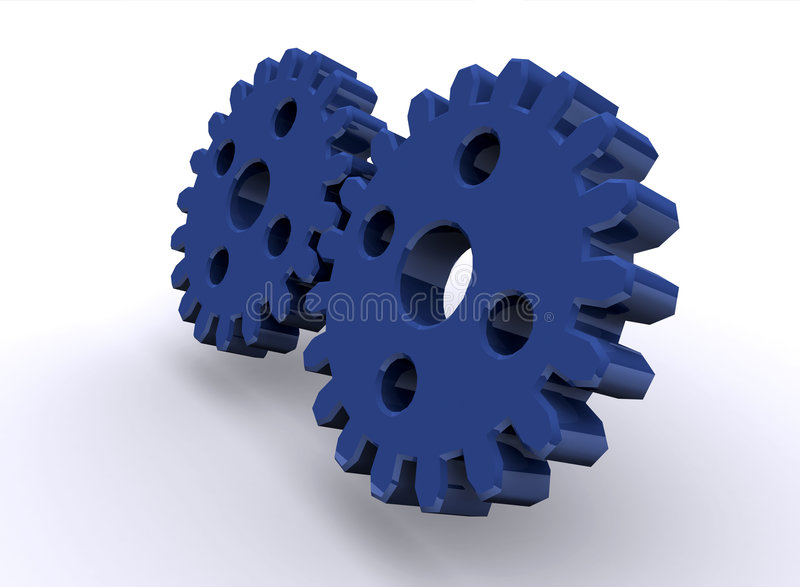 Shiny gears. 3d gear concept render royalty free illustration
