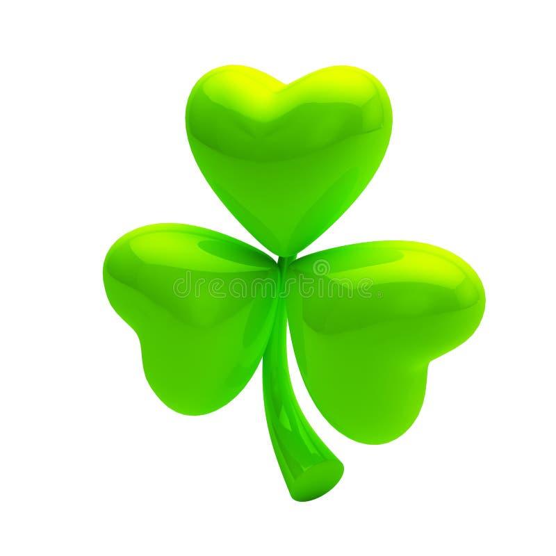 Shiny glossy green clover on white