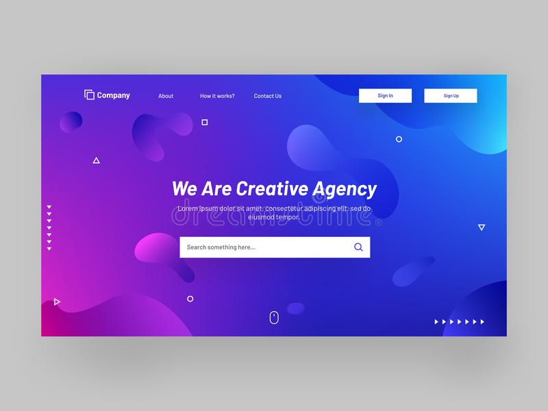 Shiny or glossy responsive landing page design with fluid art elements for creative agency concept. vector illustration