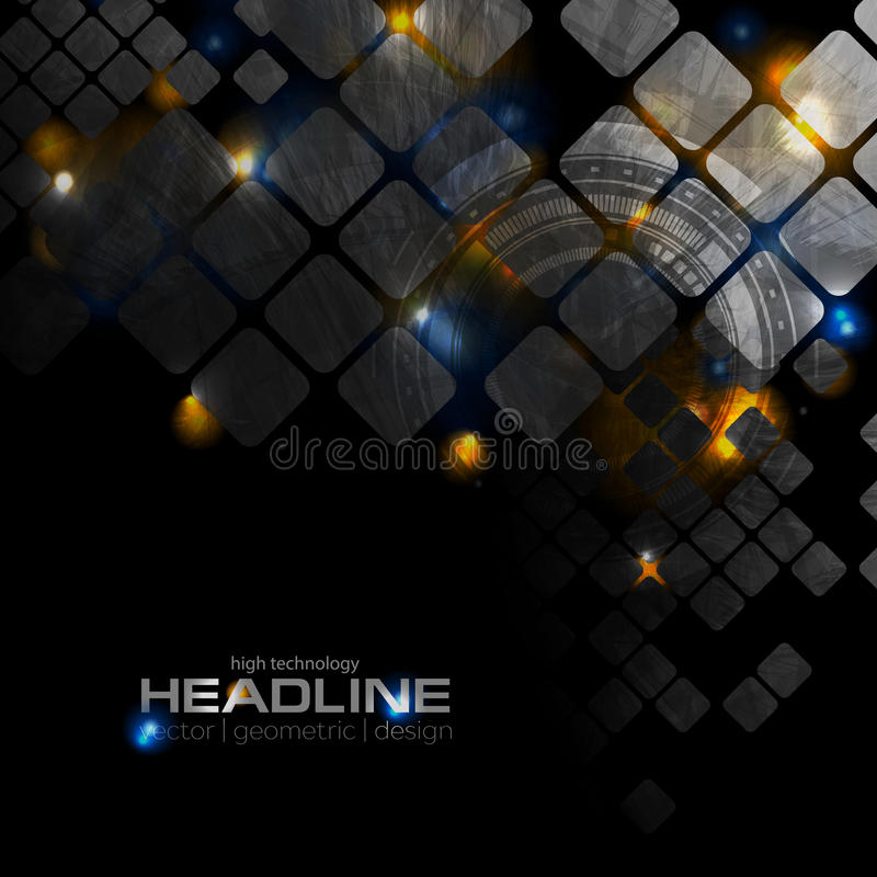 Shiny glowing technology background with squares stock illustration