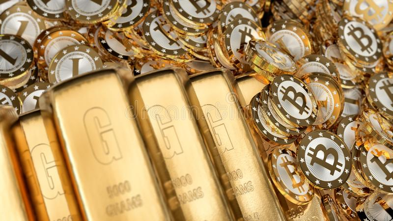 Shiny Gold bars and golden Bitcoins financial background -. 3D Rendering stock illustration