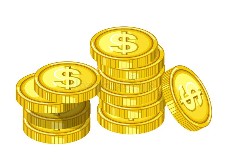 Shiny gold coins with engraved dollar signs drops from above in piles isolated cartoon flat vector illustration royalty free illustration