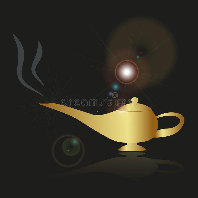 Shiny gold fairy tales genie lamp. Eps10 stock illustration