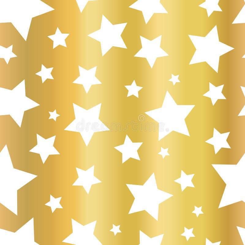 Shiny Gold foil stars seamless vector pattern. Golden star shapes on white background. Gold night sky. Elegant and fancy design vector illustration