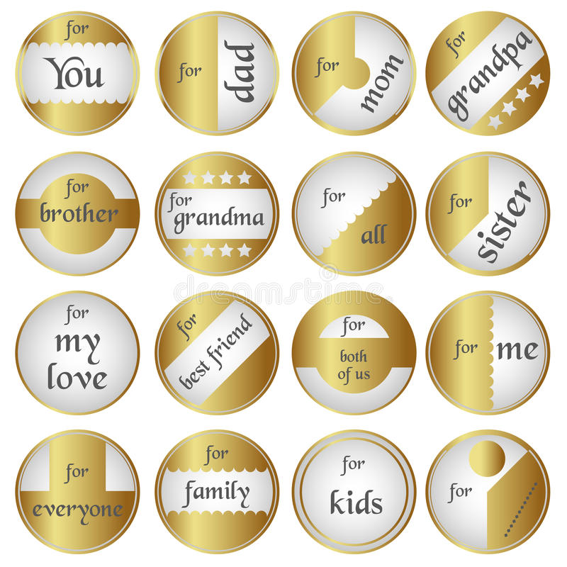 Shiny gold gift round tags for gifts vector illustration