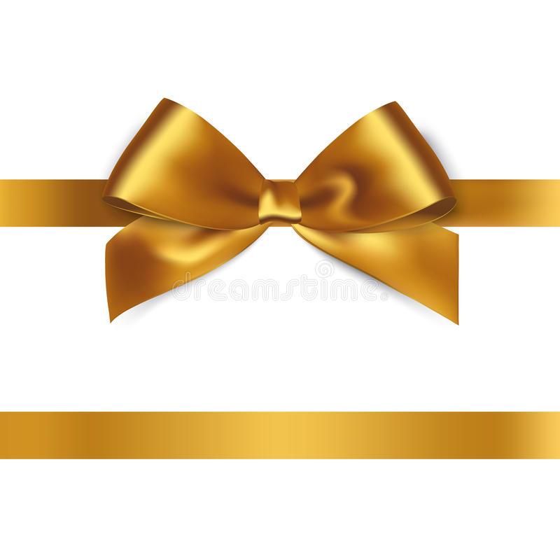Shiny gold satin ribbon on white background stock illustration