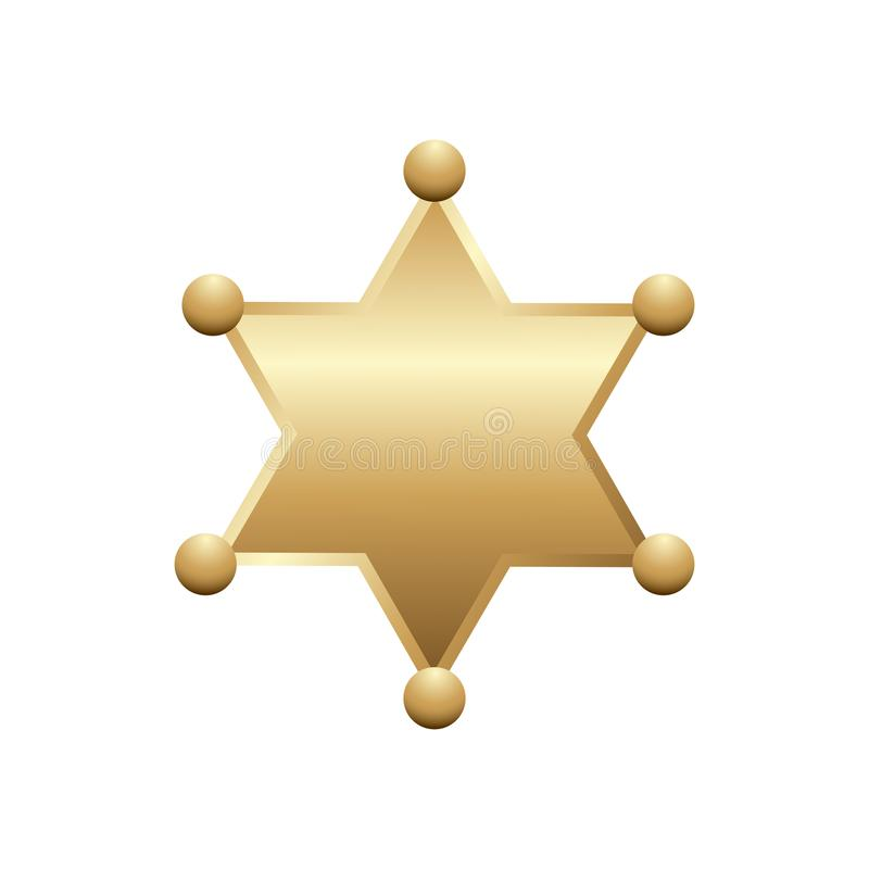 Shiny gold sheriff star, isolated on white background. Vector illustration.  royalty free illustration