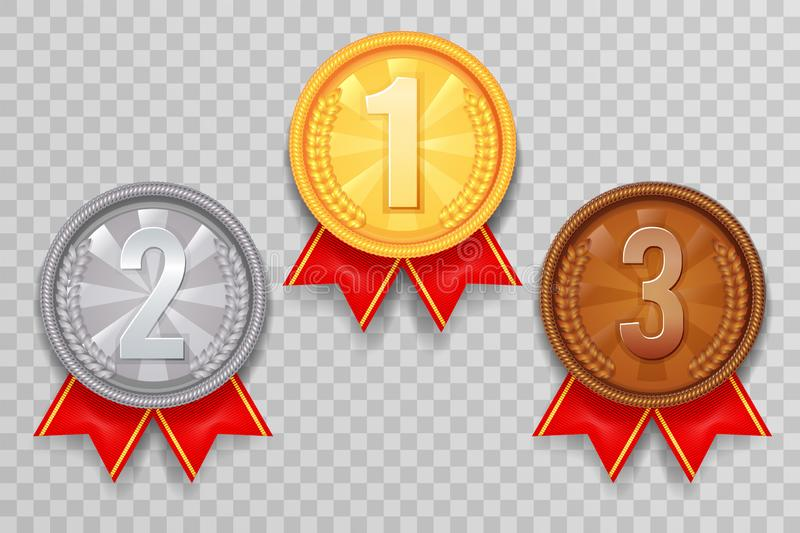 Shiny gold silver bronze winner leader award ceremony champion thirst second third place medal ribbon trophy icons set. Shiny gold bronze silver winner leader vector illustration