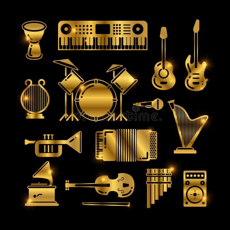 Shiny golden classic music instruments, silhouettes vector icons stock illustration