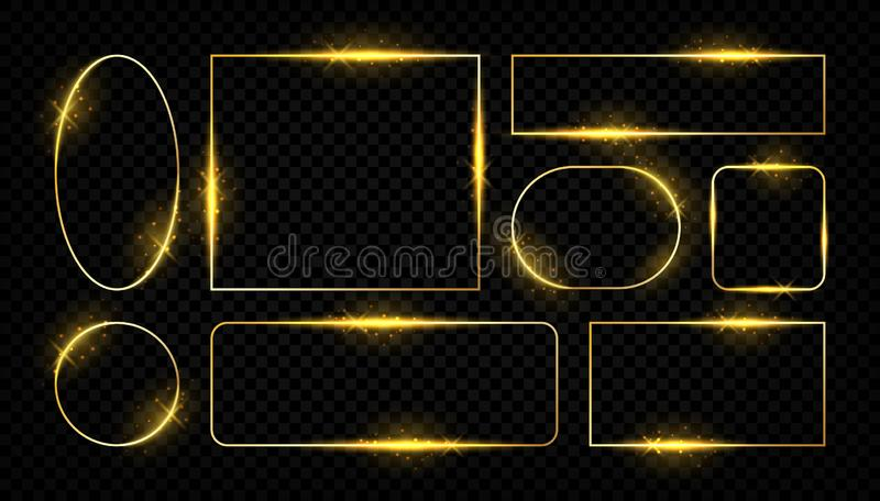 Shiny golden frames. Glowing border lines for greeting cards, golden vector square and round shapes on transparent vector illustration
