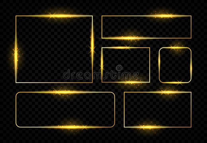 Shiny golden frames. Square magic border with glowing golden lines and flares, vector birthday party and wedding. Greeting card. Gold modern design electric royalty free illustration