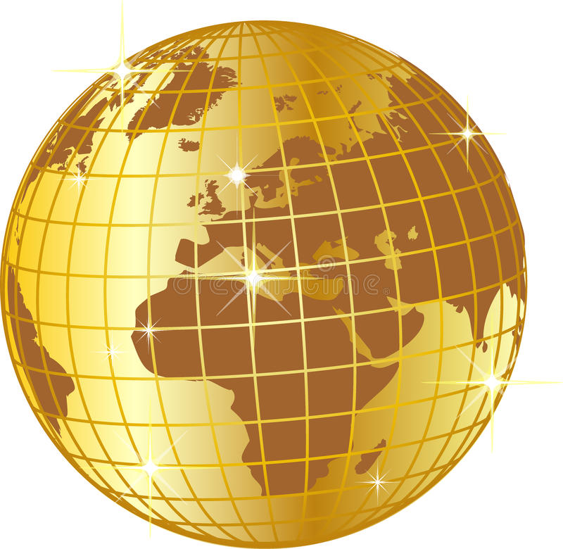 Shiny golden globe stock illustration