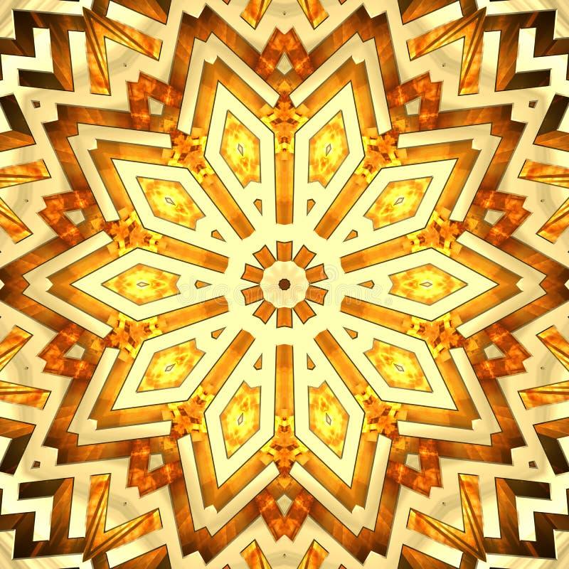 Shiny golden kaleidoscope star stock images