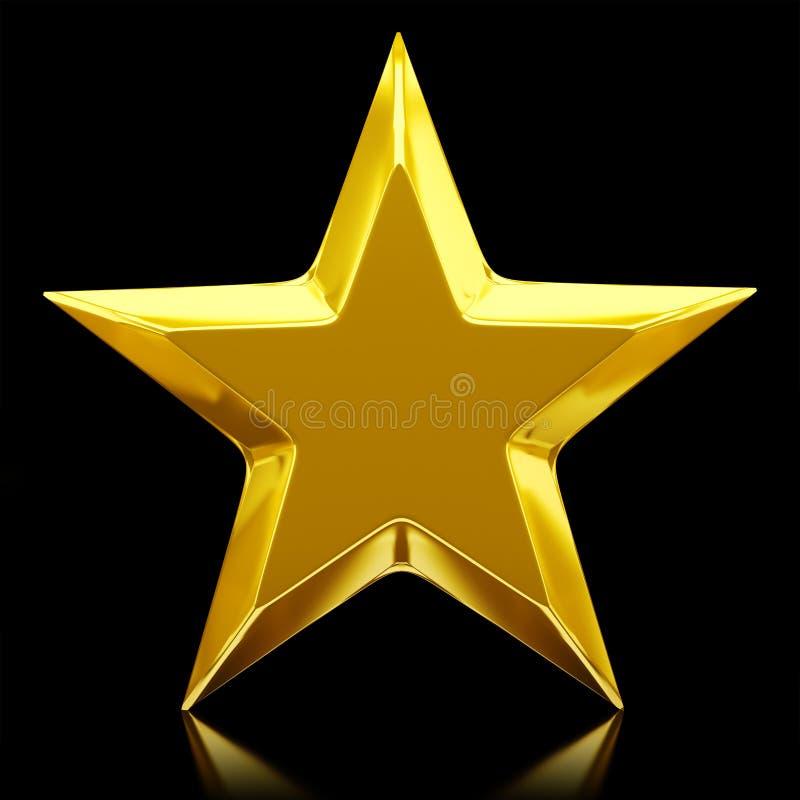 Shiny golden star. 3d rendering royalty free illustration