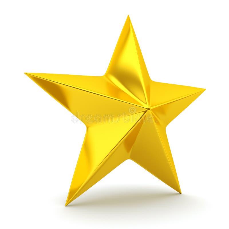 Shiny golden star. 3d rendering vector illustration