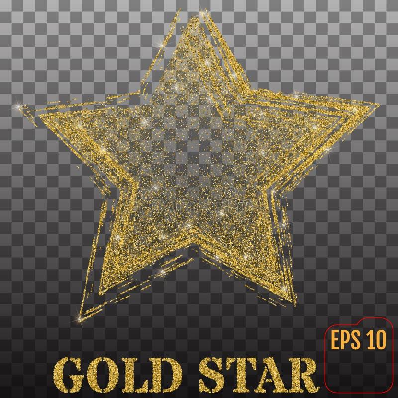 Shiny golden star, isolated on transparent background. Vector. Shiny golden star, isolated on transparent background royalty free illustration