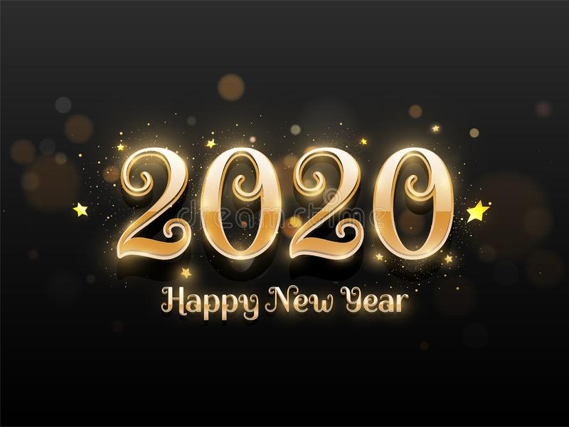 Shiny golden text of 2020 Happy New Year decorated with stars on black bokeh. stock illustration