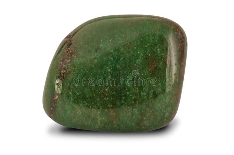 Polished green aventurine gemstone, isolated on white background stock photos