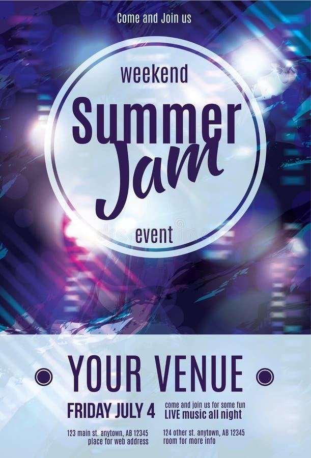 Shiny grunge summer jam flyer template design. Funky purple grunge flyer template design royalty free illustration