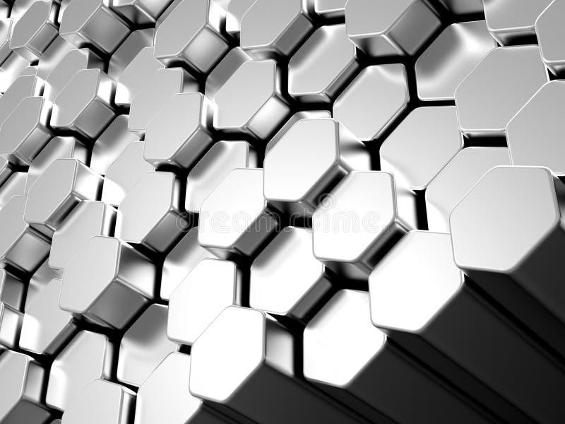 Download Shiny Hexagon Metal Bars Background Stock Illustration - Image: 29274252