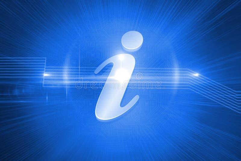 Shiny information icon on blue background stock illustration