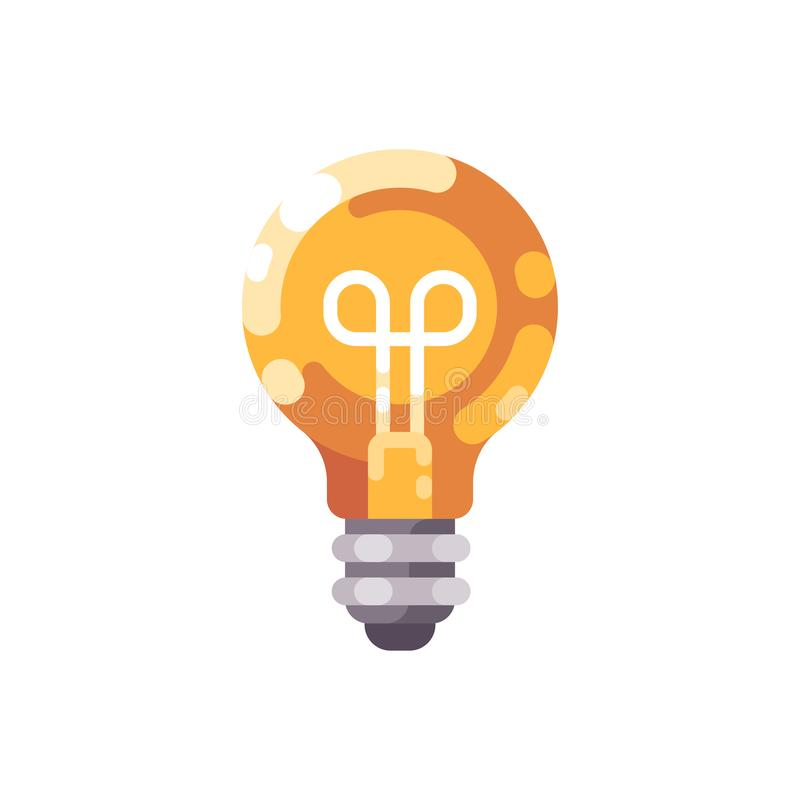 Shiny light bulb flat icon. stock illustration