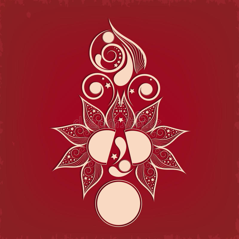 Shiny light red colour Tattoo of floral decoration. royalty free illustration