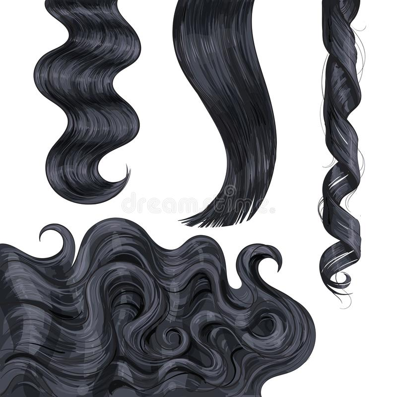 Shiny long black, fair straight and wavy hair curls. Set of shiny long black, fair straight and wavy hair curls, sketch style vector illustration isolated on royalty free illustration