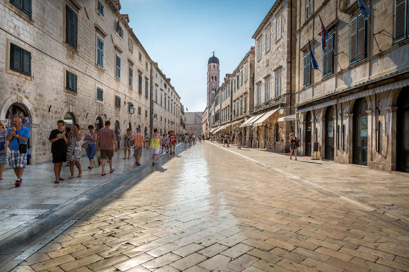 Shiny marble like street in central Dubrovnik. stock images