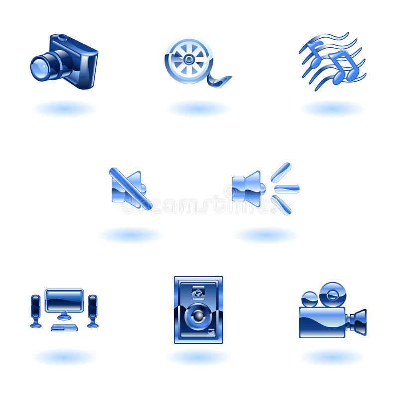 Shiny Media Icons stock illustration