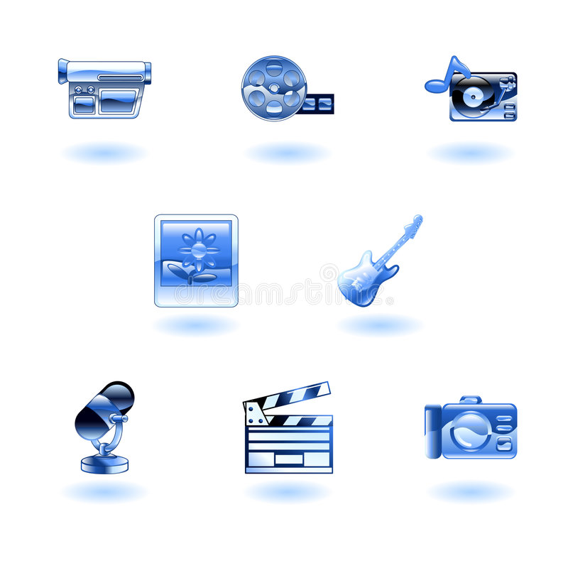 Shiny Media Icons vector illustration