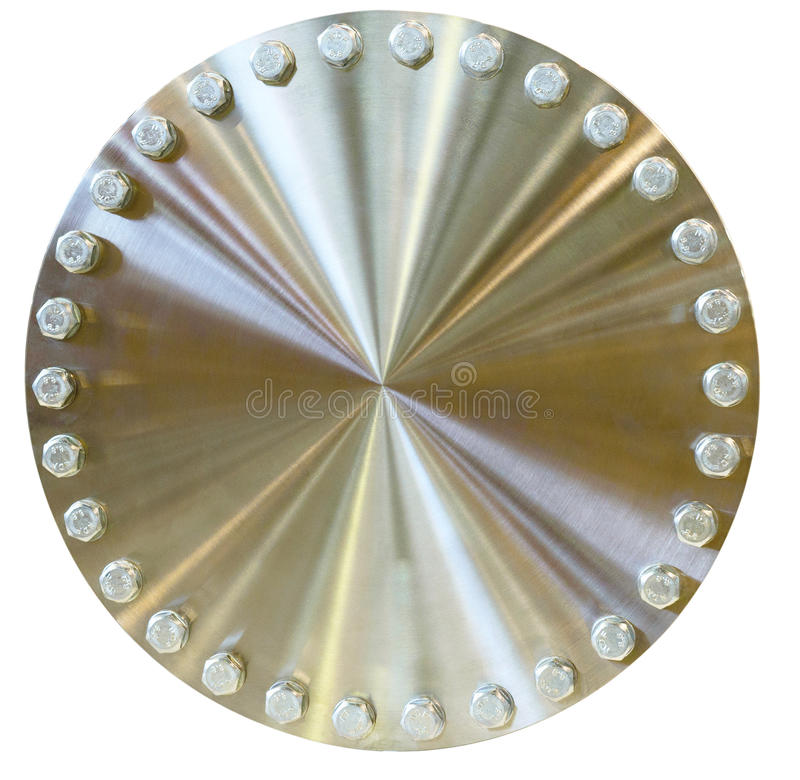 Shiny metal circle with bolts placed on the perimeter. Golden color. Isolated on white background stock images