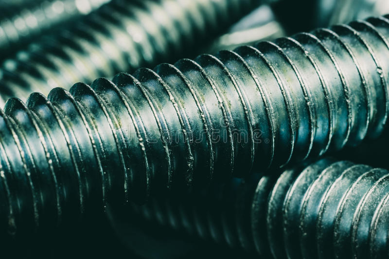 Shiny metal nut and bolt royalty free stock image
