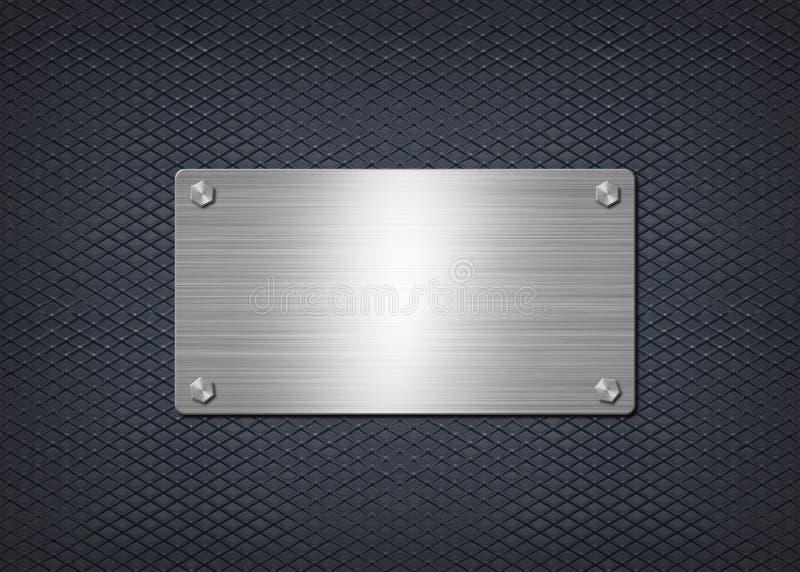 Shiny metal plate on dark blue background stock illustration