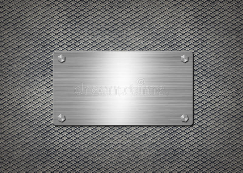 Shiny metal plate on gray background vector illustration