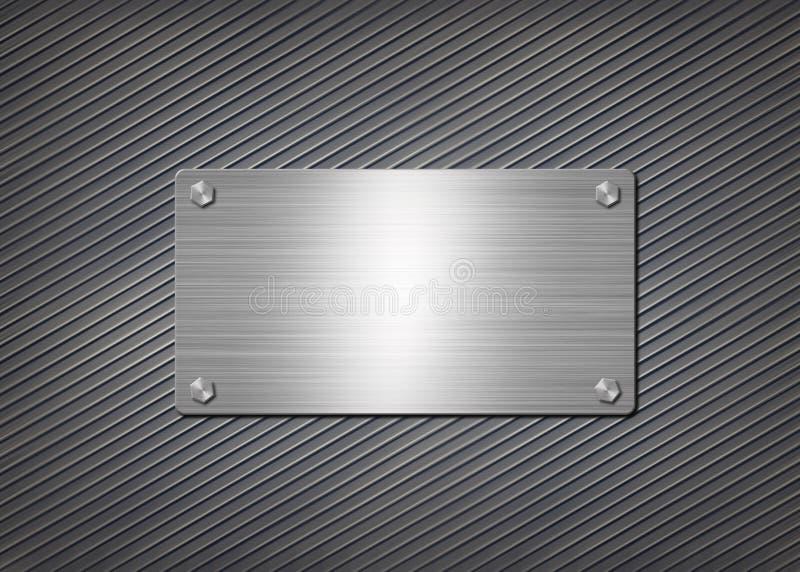 Shiny metal plate on gray background stock illustration