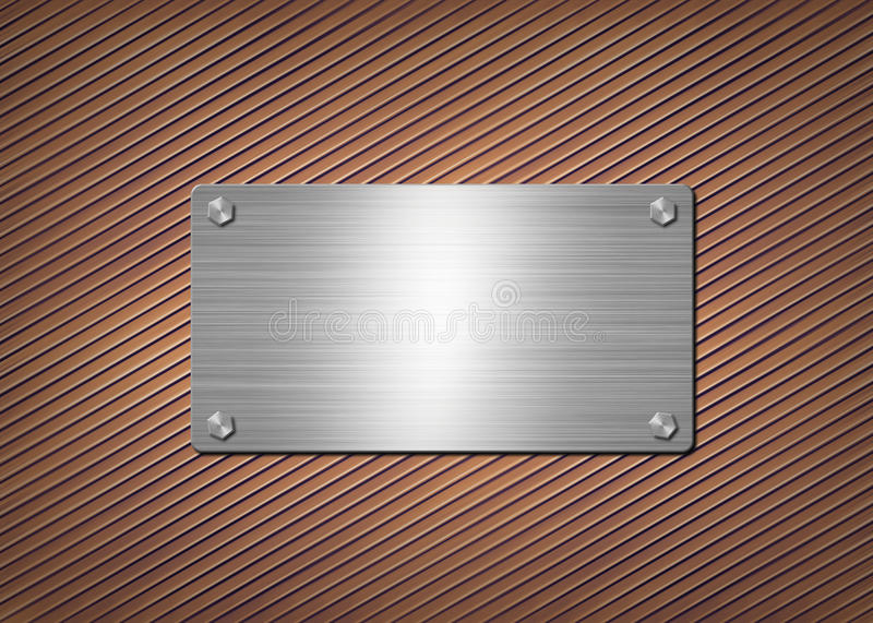 Shiny metal plate on the rusty background royalty free illustration