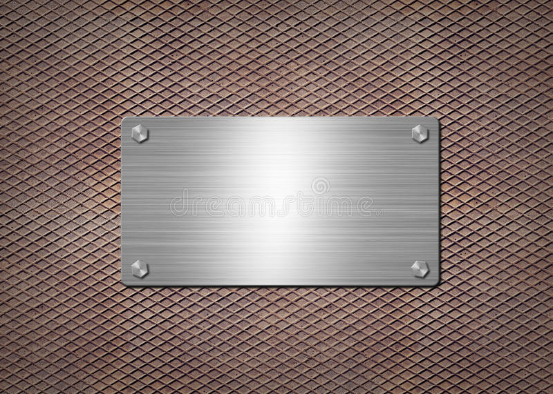 Shiny metal plate on the rusty background stock illustration