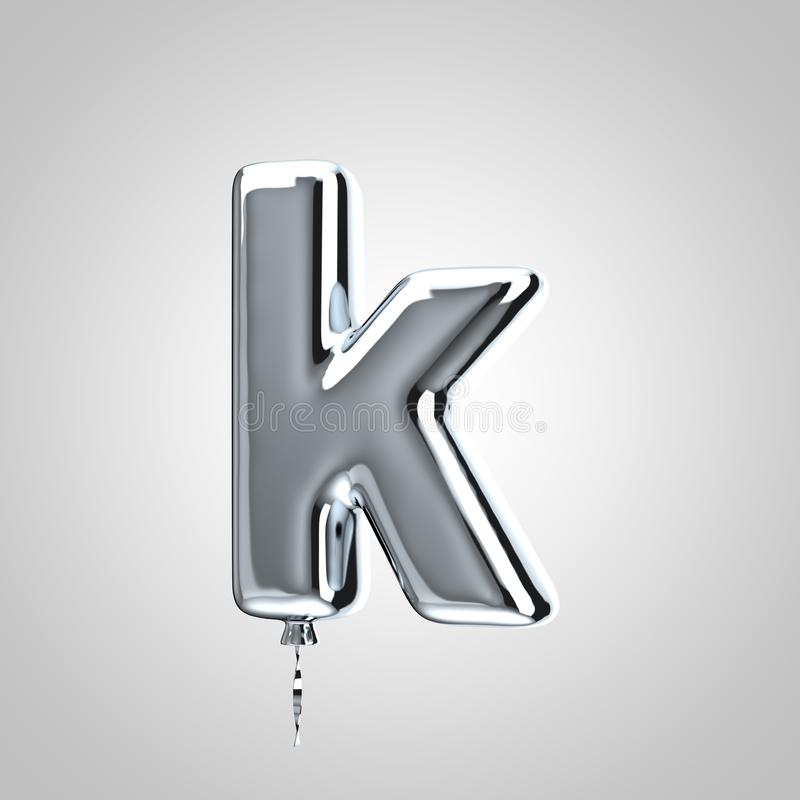 Shiny metallic chrome balloon letter K lowercase isolated on white background stock illustration