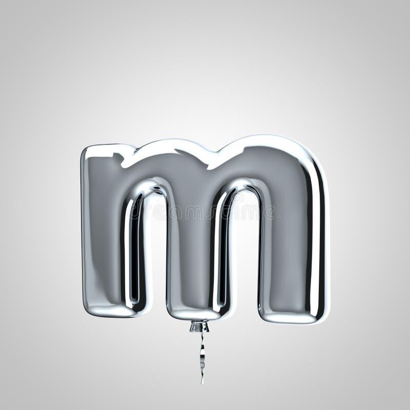 Shiny metallic chrome balloon letter M lowercase isolated on white background royalty free illustration
