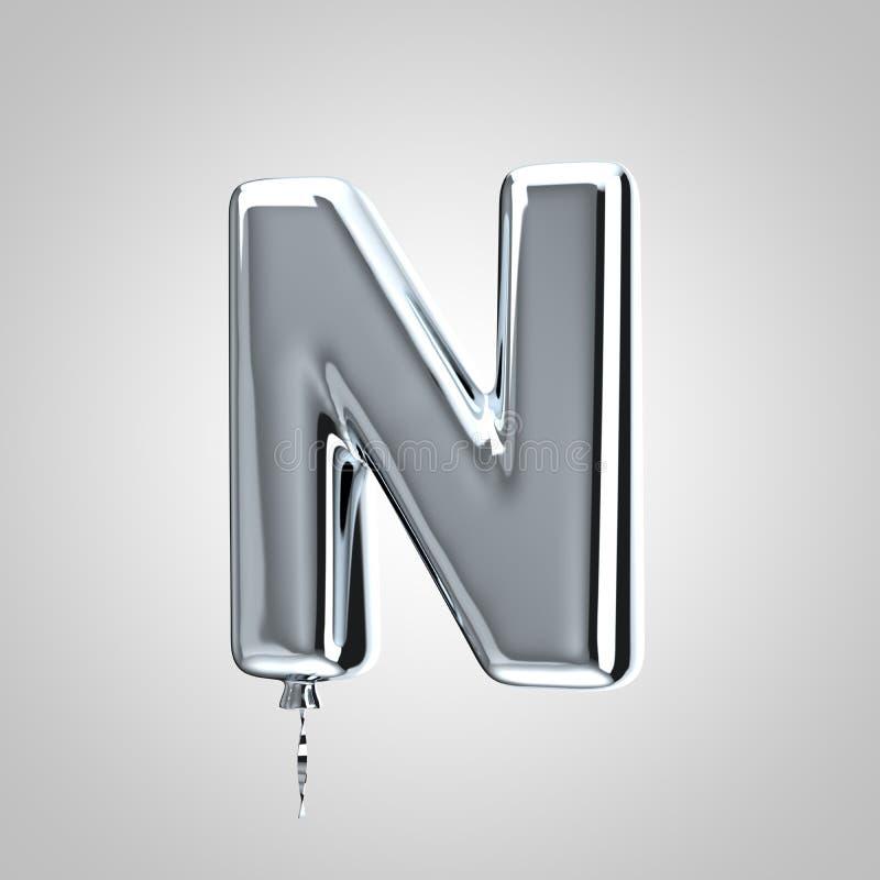Shiny metallic chrome balloon letter N uppercase isolated on white background stock illustration